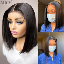 ALICE Bob Lace Front Human Hair Wigs 150% Density With Baby Hair Scalp Top Closure Wigs Non-Remy