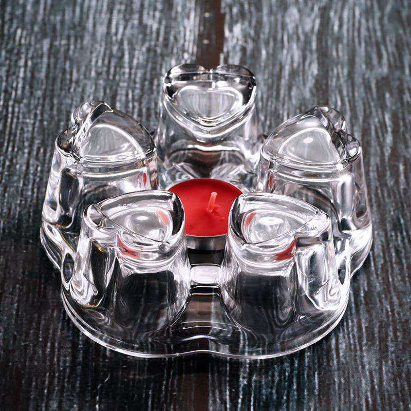 Borosilicate Crystal Teapot Warmer Heart Shape Heating Base Tea Warmer Glass Tea Set Insulated Teahouse Tea Set Accessories