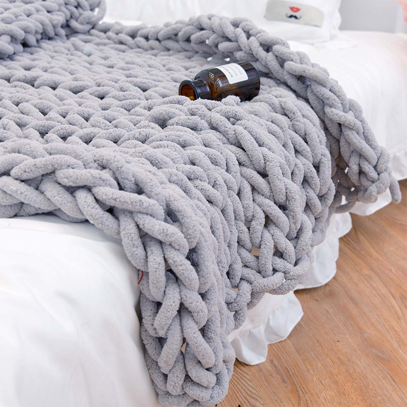Chenille Chunky Knitted Blanket Weaving Blanket Mat Throw Chair Decor Warm Yarn Knitted Blanket Home Decor For Photography D30-0