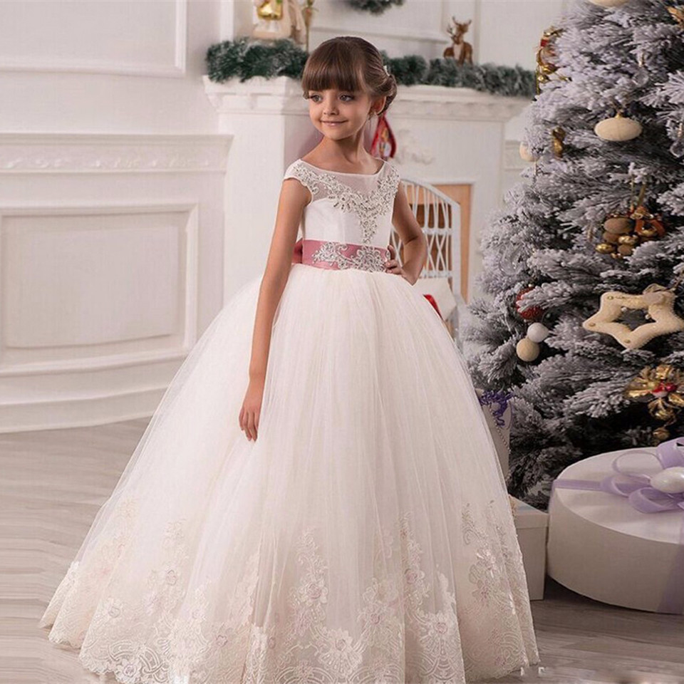 Cute 2019   Flower     Girl     Dresses   For Weddings Ball Gown Cap Sleeves Tulle Lace Beaded Bow Long First Communion   Dresses   Little   Girl