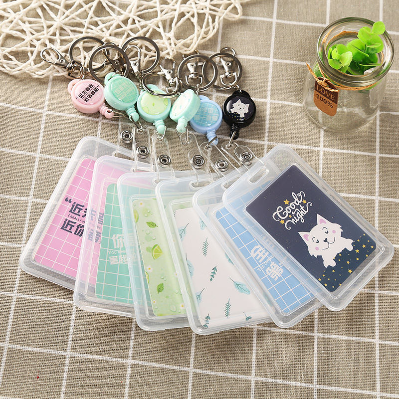 Cute Cartoon Transparent ID Card Cover Holder Bus Credit Business Access Protective Holder Office Supplies