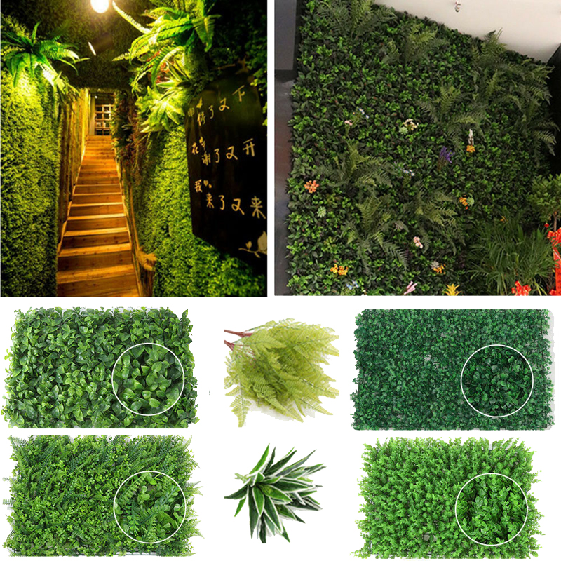 Garden Artificial Hedge Panel Ivy Leaf Private Screen Plants Greenery Fence 40x60cm Party Wedding Decorations Wall Ornaments