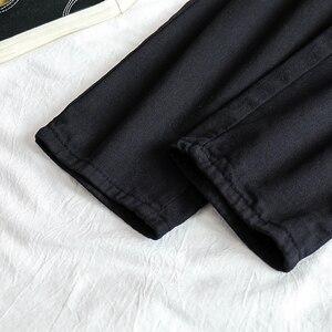 Image 5 - ג ינס נשים גבוהה אלסטי מותניים שחור רופף ישר נשים מכנסיים יוניסקס כל התאמה מקרית Harajuku נשים שיק יומי BF ג ינס