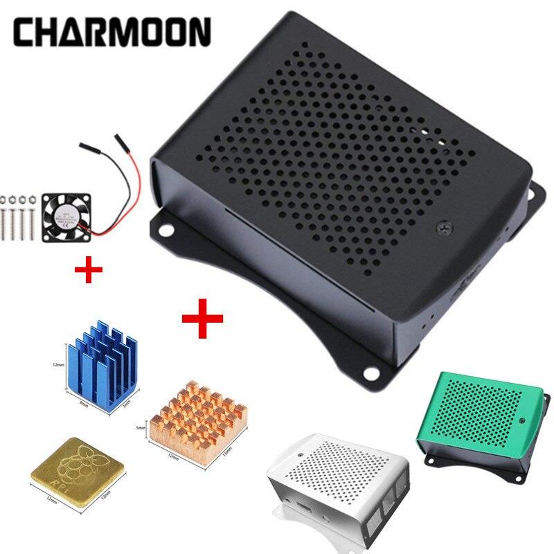 Raspberry Pi 3 Model B+ Case Heat Sink + Cooling Fan+ Metal Enclosure 3 Color Protective Aluminum Case For Raspberry Pi 3