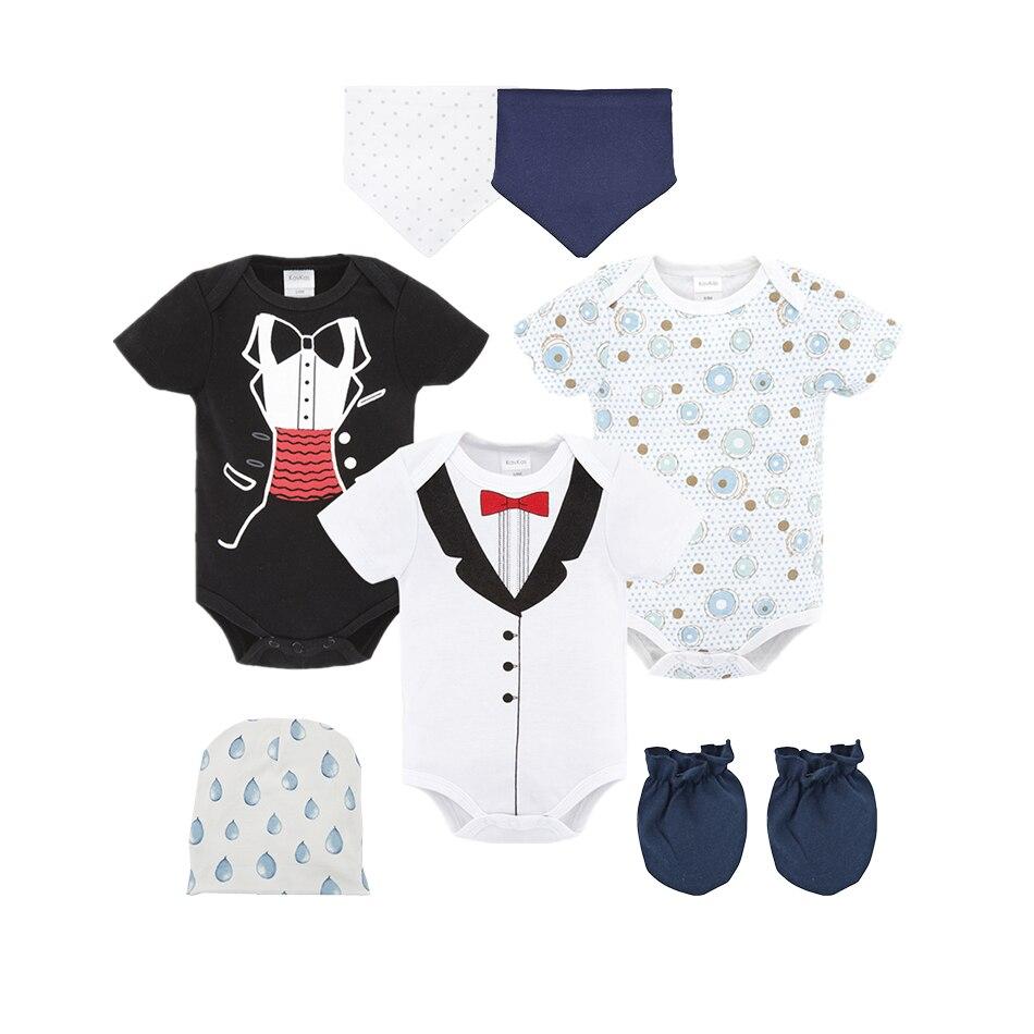 7pcs 8pcs newborn baby set boy bodysuits 100% cotton infant suit girl clothes outfits clothing hat bib ropa de bebe