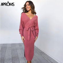 Aproms Women Winter Knitted Sweater Dress Sexy Wrap High Split Tunic Midi Dresses Casual Double V Long Sleeve Autumn  Vestidos 2017 new autumn women midi sweater dress 3 color warm slim dresses elastic side split ripped knitted winter robes vestidos xh631