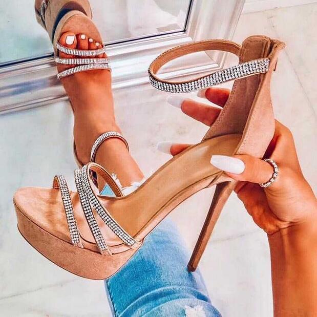 Alla moda Della Chiusura Lampo Tacchi A Spillo Delle Donne Sandali di Cristallo di Bling Abbellito Cinturino Alla Caviglia Alta Piattaforma Gladiatore Dei Sandali Pattini di Vestito
