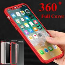 Durable PC Cover + Tempered Front Glass For iPhone 11 11Pro 11Pro Max Protective Shell For iPhone XS XR X 8 7 Full Phone Case(China)