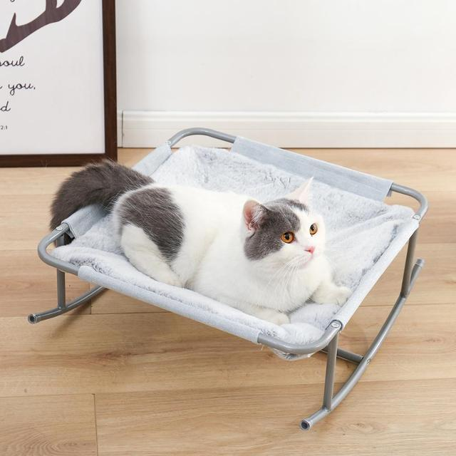 Pet Cat Bed Soft Plush Nest Cat Hammock Detachable Mat Pet Bed with Dangling Ball for Cats Small Dog Squar Tumbler Rocking Chair 6