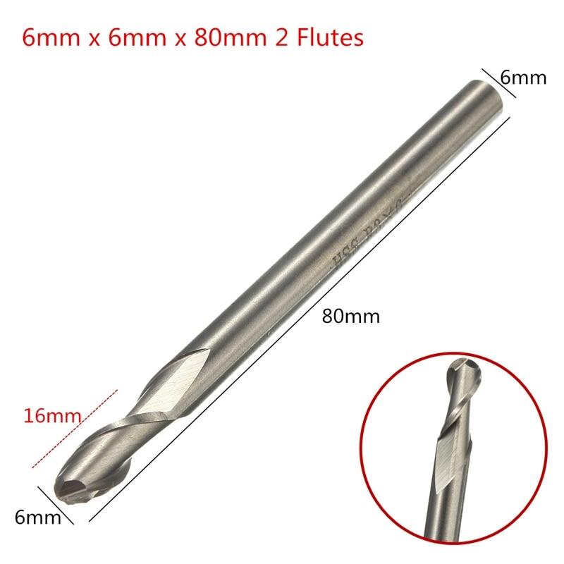 1PCS HSS & Aluminium 6mm X 6mm 2 Flute Ball Nose End Milling Lathe Cutter CNC Bit Tool 80mm Long Top Quality Drill Bits