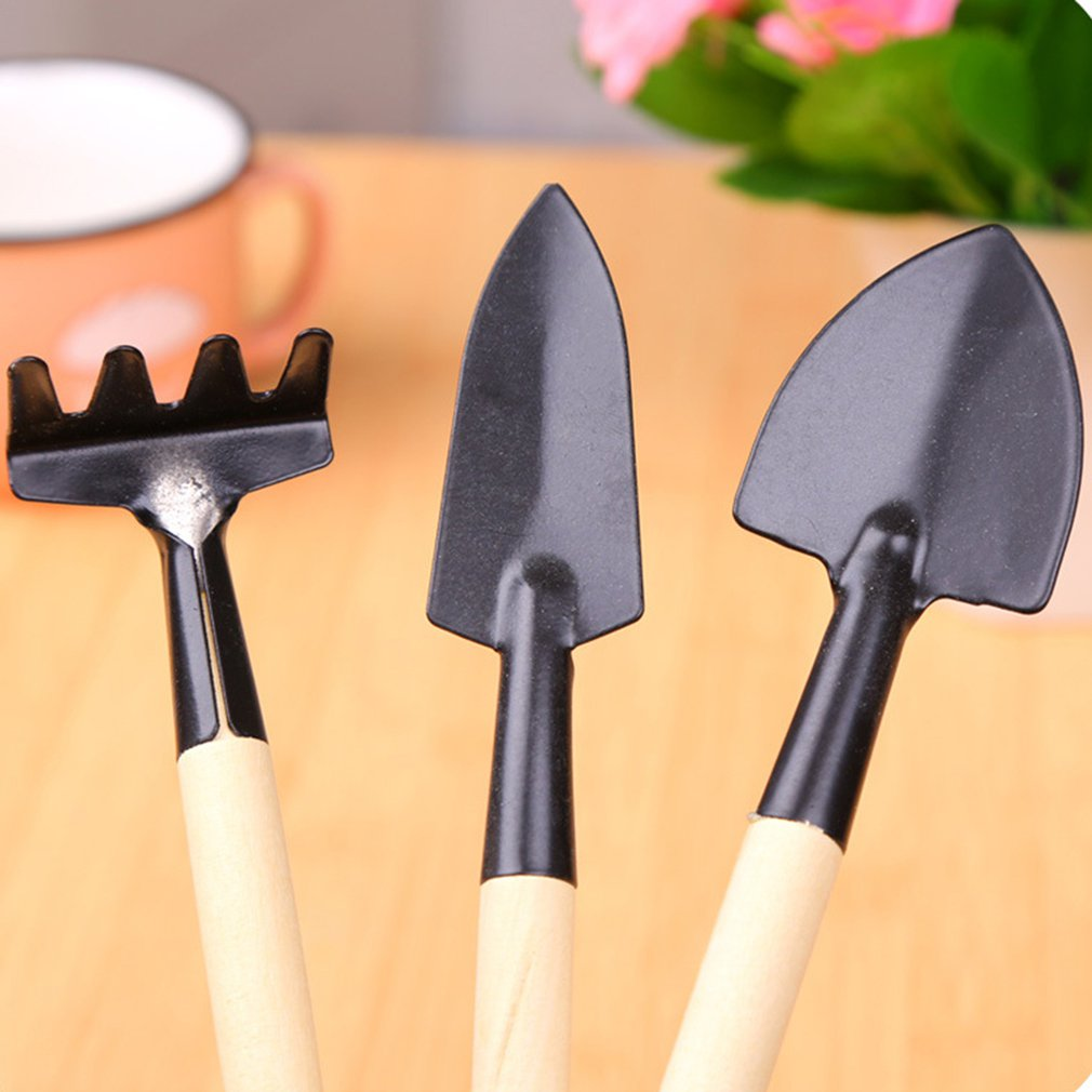 3pcs/Set Mini Gardening Tools Wood Handle Stainless Steel Potted Plants Shovel Rake Spade For Flowers Potted Plant Hot