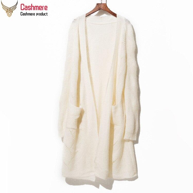 Mohair Wool knit cardigan female 2019 spring autumn wool hollow long knit cardigan holiday shirt cardigan sweater female white