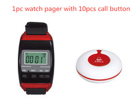 Hospital nurse service system restaurant table call bell wireless paging system 1pc wrist watch pager 10pcs call buzzer