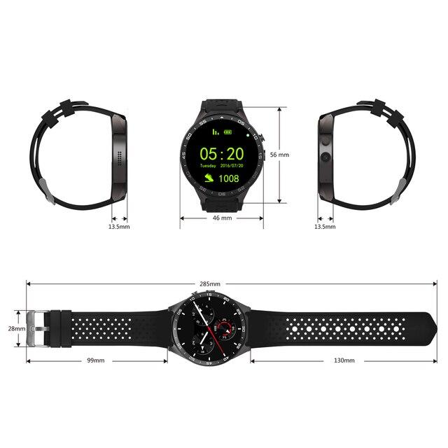KW88 Smart Watch 512 RAM  4GB ROM Men Wristwatch Android 5.1 Bluetooth 4.0 WIFI 3G Smartwatch  Support Google Store GPS Camera