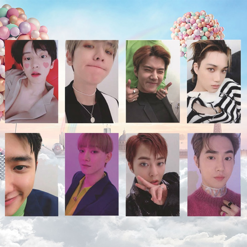 8Pcs/Set  KPOP EXO Album Self Made Paper Card Photo Card Poster HD Photocard Fans Gift Collection