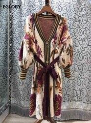 2019 herbst Winter Beiläufige Lange Strickjacken Frauen Vintage Muster Stricken Belted Langarm Pullover Strickjacken Wolle Oberbekleidung