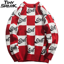 White Red Plaid Sweater Streetwear Men Hip Hop Knitted Sweater Pullover Checkered Autumn 2020 Cotton Retro Sweater Street Style