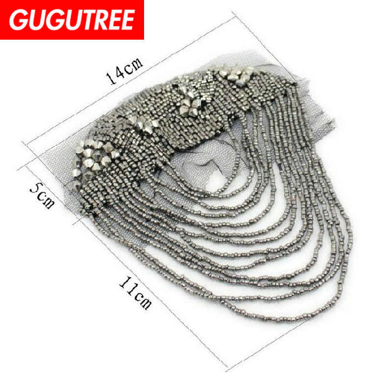 GUGUTREE brooch breastpin tassels shoulder board patch metal patches badges applique patches for clothing CH-8