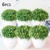 6 PCS Artificial Plant Grass Bonsai Ornament Miniascape Garden Hotel Desktop Decor With Pot