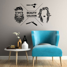 Beauty Saloon Hair Salon Barbershop Wall Stickers Vinyl Interior Hairdressing Stylist Decals Barber Shop Decor Murals A374