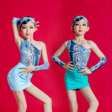 Girl Summer Latin Dance Clothes Children Sleeveless Sexy Blue Tight Exercise Suits Performance Costumes Professional Latin Skirt