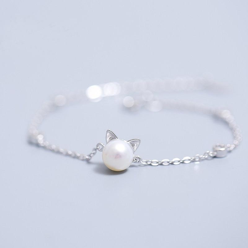 AKOLION Nowy srebrny kolor Kot imitacja perły Bransoletka dla 925 dziewczyn kobiet Urok kociaków Bransoletki Biżuteria na przyjęcie urodzinowe