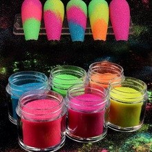 6 Color Fluorescence Color Nail Glitter Powder Snow Candy Sugar Neon Pigment Dust Nail Art For DIY Manicure Decoration Design
