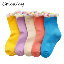 Girls Lovely Ma Caron Color Socks Cotton Lace Rainbow Ball Princess Comfortable Solid Soft Breathable Children