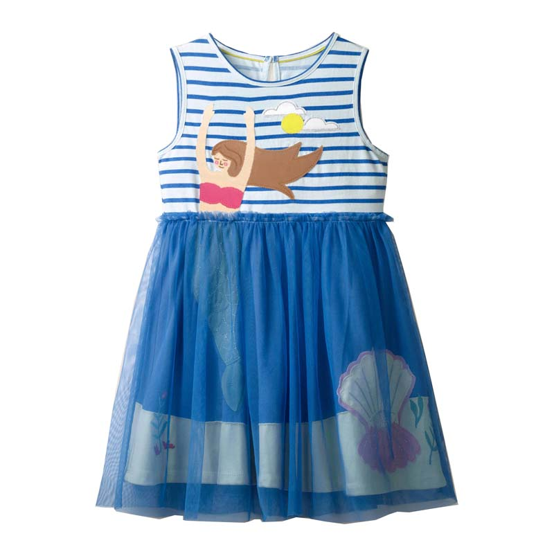 2021 Summer Girls Dress Brand Casual Kids Clothes Party Princess Dresses for Children Costume Embroidery Mermaid 2