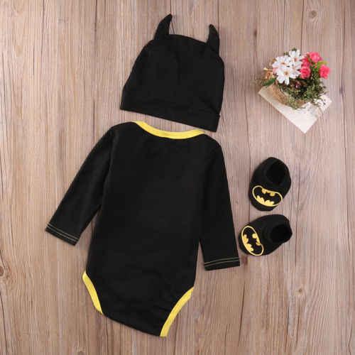 Monos de Batman zapatos de mono disfraces con sombrero 3 uds monos Halloween recién nacido Ropa para bebé (niño o niña) verano otoño conjuntos de trajes
