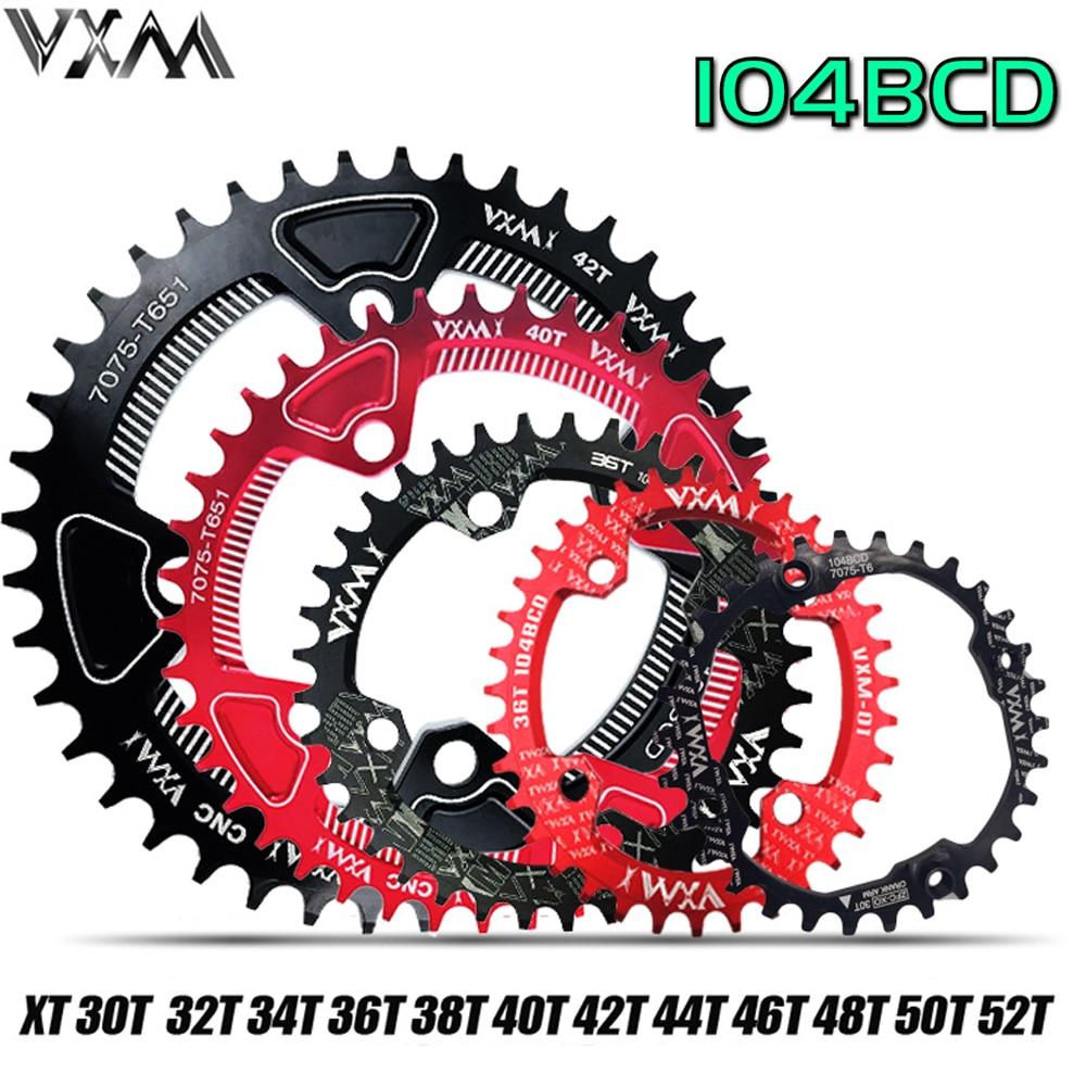 VXM Bicycle 104BCD Crank Oval Round 30T 32T 34T 36T 38T 40T 42T 44T 46T 48T 50T 52T Narrow Wide Chain Wheel MTB Bike Chainring