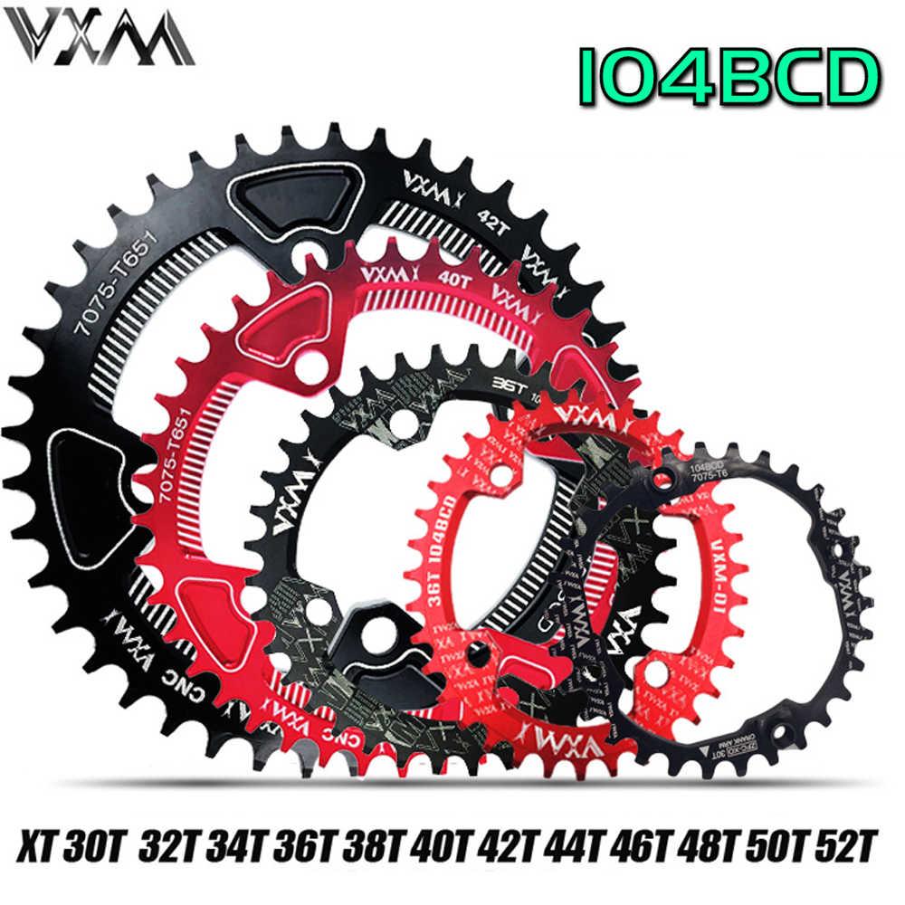 VXM bicicleta 104BCD manivela redondo Oval 30T 32T 34T 36T 38, T 40T 42T 44T 46T 48T 50T 52T estrecha amplia rueda de cadena MTB plato de bicicleta