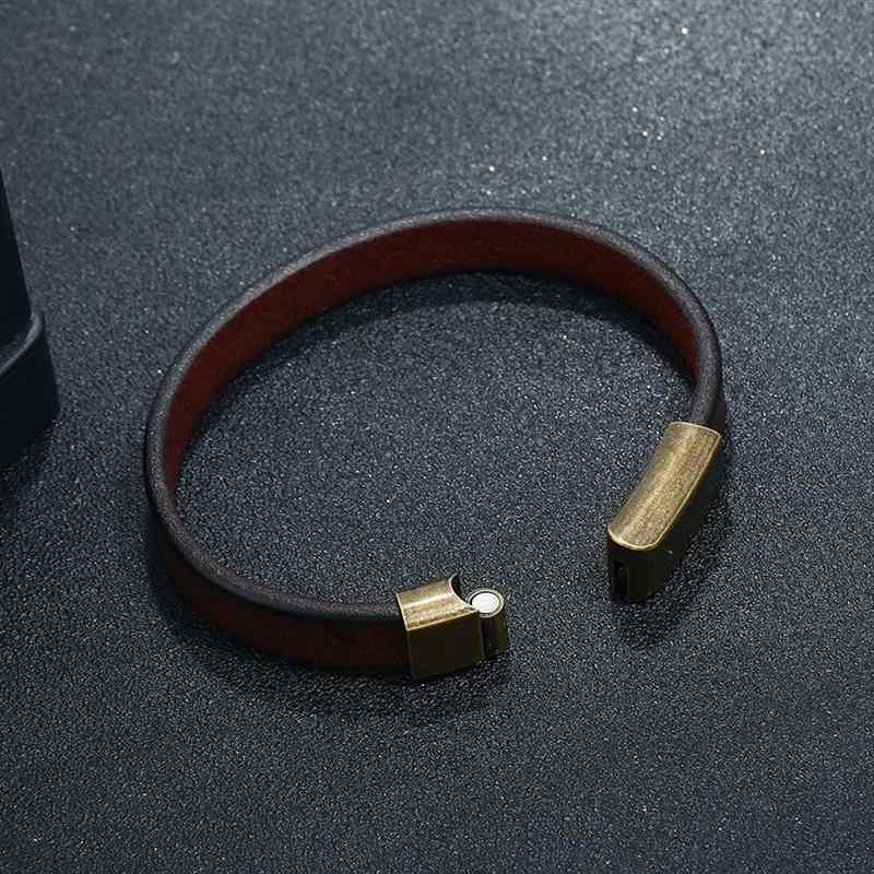 Jiayiqi 2019 novos homens jóias pulseira de couro marrom para homens de aço inoxidável fecho magnético moda 18.5/20.5/22.5cm pulseiras presente