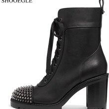 Новинка; красивые черные женские Ботинки martin на толстой подошве с заклепками на высоком каблуке; ботинки в байкерском стиле на шнуровке; женские короткие ботиночки в стиле ретро