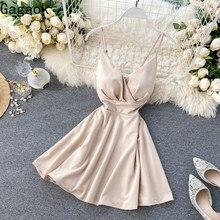 Gagaok sexy & club 2020 mini vestido feminino primavera outono novo decote em v cinta de espaguete império sólido fino chique vestidos de moda selvagem