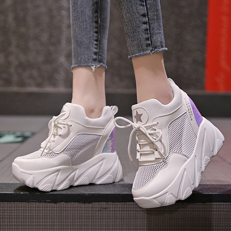 Height Increasing Casual Chunky Sneakers Autumn Platform Vulcanize Shoes Air Mesh Female Trainers Lace Up White Wedges Shoes