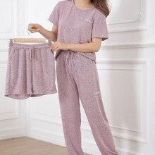 Pajamas Set Women Casual Soft Homewear Long Pants Shorts Shi