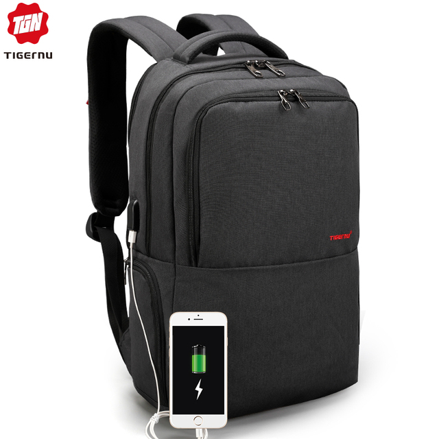 Waterproof Anti Theft Tigernu 15.6inch Laptop Backpack  Men Women Backpacks Slim School Bags Bagpack for Teens Black Grey