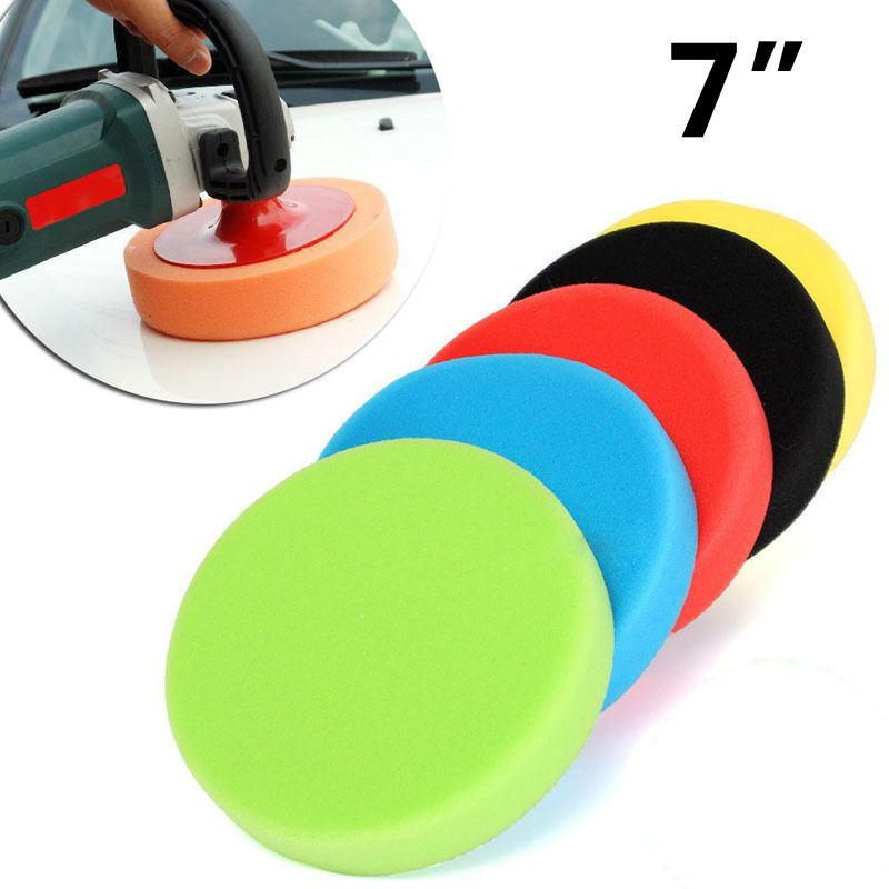 Auto Round Flat Foam Polishing Pads Buffing Sponge Tools Kit Detailing Finishing Adapter Accessories Set 7 Inches|Polishing & Grinding Materials Set| |  - title=