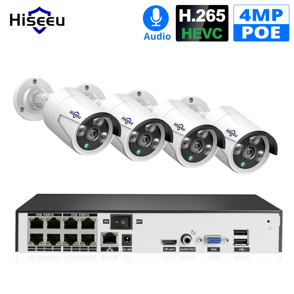 Hiseeu H 265 CCTV System POE NVR Kit 8CH 4MP Waterproof POE IP Camera Bullet Home Security Camera System Outdoor low lux Onvif