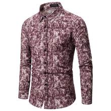 Fuchsia Floral Shirts Men Soft Turn-down Collar Camisa Male Casual Fashion Long Sleeve Men's Shirt Polyester For Teenager girls plaid blouse 2019 spring autumn turn down collar teenager shirts cotton shirts casual clothes child kids long sleeve 4 13t