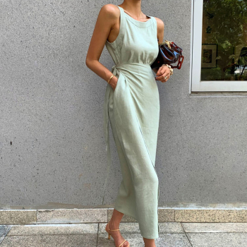 CHICEVER Summer Sleeveless Solid Dress Women O Neck Off Shoulder High Waist Bandage Elegant Midi Dresses Female Fashion 2020 New 2