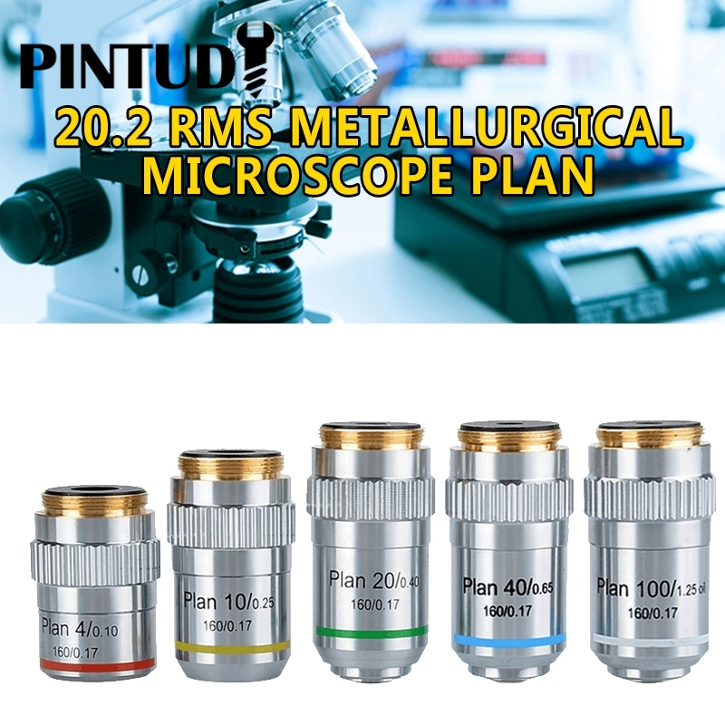 PINTUDY 20.2mm RMS Metallurgical Biological Microscope Plan Achromatic Objective Lens 4X 10X 40X 100X Optical Instruments New