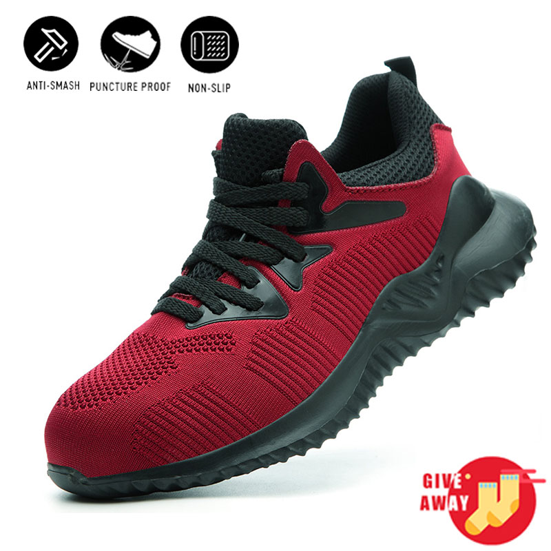 Men Safety Shoes Steel Toe Cap Slip Summer Lightweight Breathable Work Shoes Anti-smashing Construction Sneaker Buty Robocze