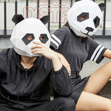 Model Head-Mask Cosplay-Props Dress-Up Role-Play Panda Animal Halloween Party Woman Paper-Mold