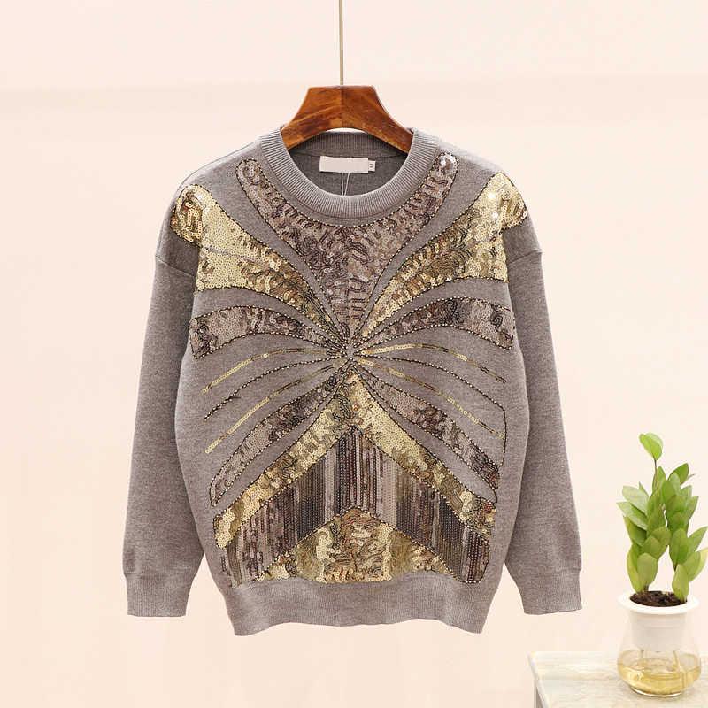 1.4 2020 봄 가을 여성 스웨터 패션 페르시 스팽글 긴 소매 니트 스웨터 + 캐주얼 바지 두 조각 세트