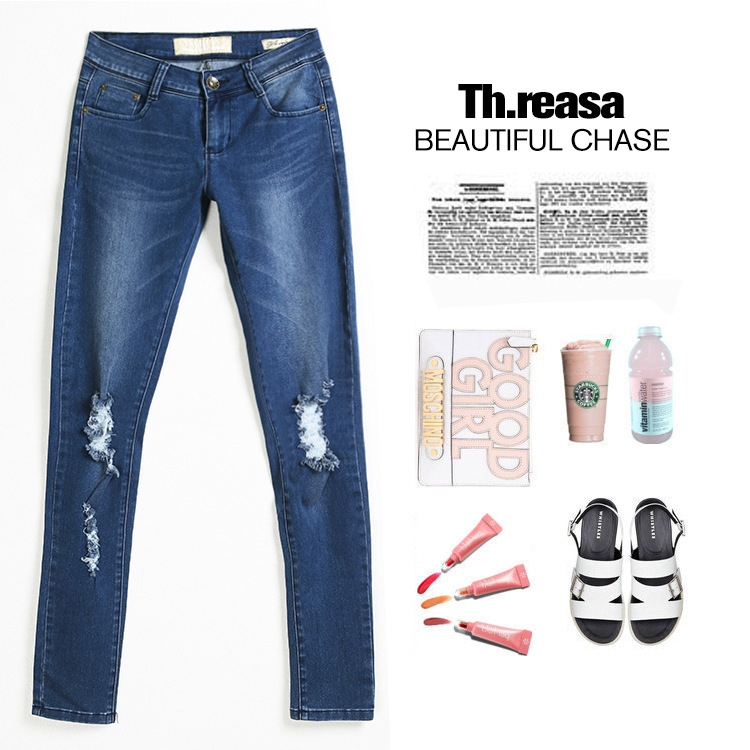 Europe And America-Modify High-waisted With Holes Pants Hot Sales Origional AliExpress Jeans
