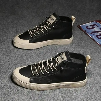 2020 New Hight top Men Vulcanize Boots Breathable Comfortable Anti slip Soft Sole Shoes Spring