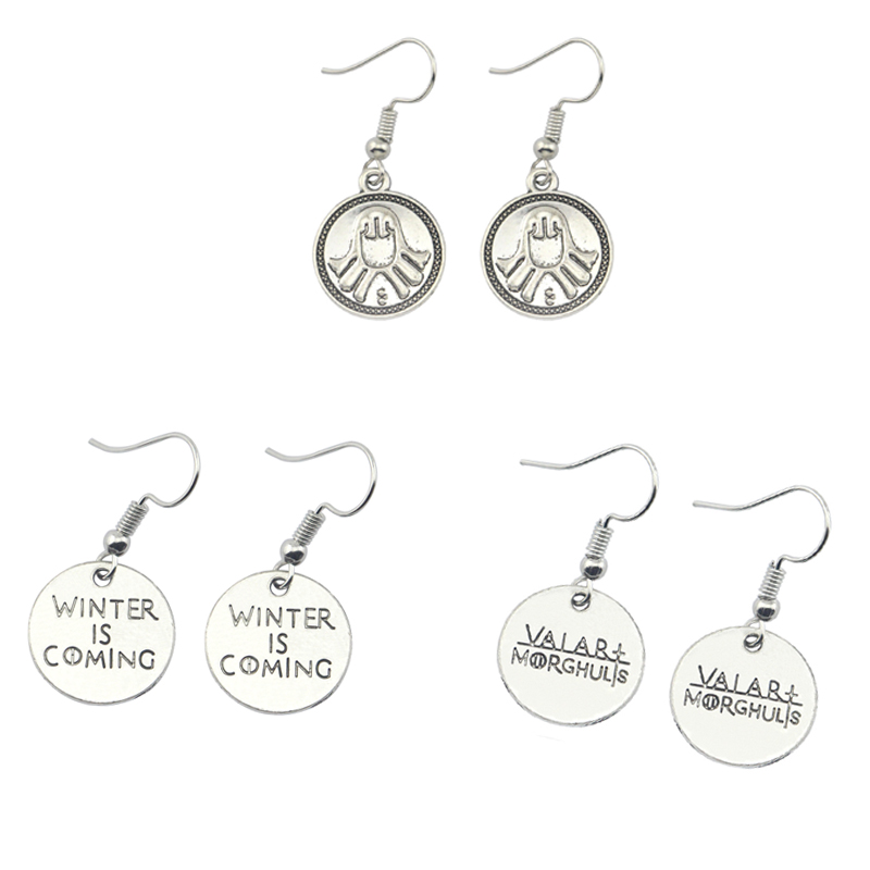 2019 New Game Of Throne Dangle Earrings Winter Is Coming Statement Vintage  Earrings For Women Jewelry For Christmas Gift