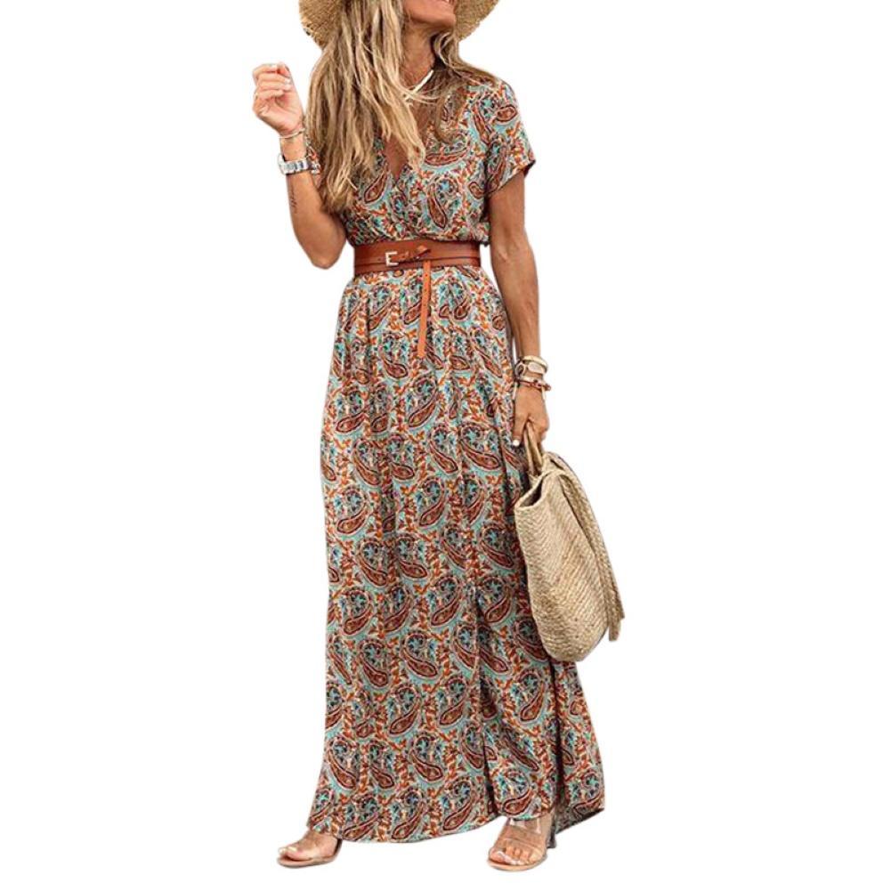 Fashion Boho Long Dress for Women V Neck Short Sleeve Paisley Print Belt Large Hem Beach Long Dress Elegant Women's Dress 2021 8